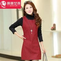 2014 new Autumn Chidori Guemas A sleeveless vest bottoming wild woolen skirt was thin waist dress clothes clothes