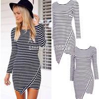2014 New Women Striped Irregular Long sleeve Winter dress Casual Mini Sheath Sexy dresses Ladies Bodycorn Vestidos