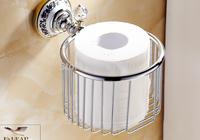 Hot Sale Wholesale And Retail Promotion Bathroom Chrome Brass Ceramic Crystal Toilet Paper Holder Tissue Basket Shelf