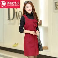 2014 Hitz temperament was thin waist skirt sleeveless vest bottoming winter woolen dress clothes dress