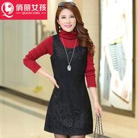 Women Korean Hitz large size commuter temperament was thin waist lace sleeveless woolen vest dress lace clothes