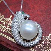 AAAA 12-13mm white Bread round pearl freshwater pearl Necklace leopard head pendant zircon S130#