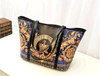 Fashion Boutique Casual Women Handbag Retro Oil Painting Shoulder Bag Crown Pattern Lady Bag
