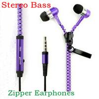Metal Zipper Earphones Stereo Bass Earphone In Ear Headset Headphones With MIC 3.5mm Jack Standard Free DHL MOQ:50pcs