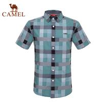 For camel outdoor casual shirt Men 2014 short-sleeve shirt cotton shirt male