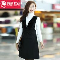 New winter women's fashion style sling bag hip stitching woolen vest dress skirt women dress dress