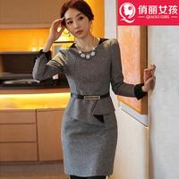 New winter long-sleeved woolen dress large size women wear fake two bottoming dress vestido top