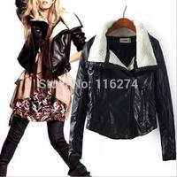 Fashion Black Ladies Casual Turn Down Leather Jacket Coats Women Warm Winter Jackets Coat MYK069