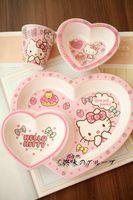 Hello Kitty Melamine Love Heart Tableware Set (Plate+Bowl+Cup) Dish Tray Dinnerware--Christmas Gift Novelty Toy Cartoon