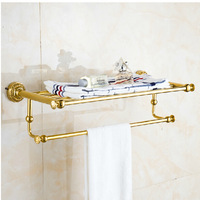 Free Shipping!    Luxury Golden Brass Bathroom Towel Shelf Towel Rack Holder Exquisite Carved Base