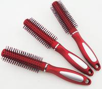 Retail 3 pcs Plastic Round Bristles Tips Roll Wavy Curly Hair Brush Comb