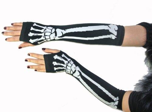 New One Pair Black Punk Gothic Dark Rock White Skeleton Long Arm Warmer Fingerless Dress Gloves Halloween Costume Cosplay Gloves(China (Mainland))
