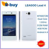 Original Leagoo Lead 4 MTK6572M Dual Core 1.0GHz Mobile Phone 4.0 Inch 840*480 3.0 MP Android 4.4 ROM 4GB 3G WCDMA GPS 4G ROM