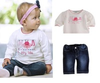New Baby Clothing Set baby suit long sleeves  sports and leisure suits t shirt +jeans baby girl boy pajamas children's christmas