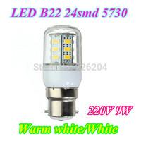 Hot Sale B22 9W SMD 24smd 5730 chip led corn bulb lamp Warm white / white led lighting 10X Free Shipping