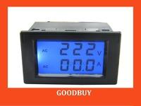 5pcs/lot 200-450V/0-199.9A 2in1 dual display AC Voltmeter Ammeter voltage Current Monitor amp volt panel meter Monitor gauge
