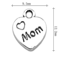 Wholesale Fashion free shipping Anti-Silver originality mom letter with the heart charms family jewelry