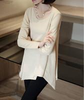 2014 New Autumn Women Shirt Korean style Long Sleeve Irregular Shirt Free Shipping c1327