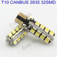 Car Lights!! 200pieces/lot T10 194 168 1210 32 SMD Canbus 12V DC Leds 32 Led Error FREE White License Plate Light Parking Lamps