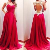 Charming Sleeveless Applique Prom Dresses Custom Made Chiffon Floor Length Backless Evening Gowns 2014 vestidos de festa