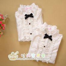 Niñas princesa de manga larga cuello de la camisa blanca chaqueta de punto grande de algodón virgen camisa de los niños(China (Mainland))