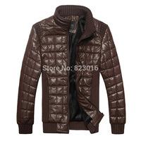 Big Size PU Male Leather Jacket Men Winter Coat Down Jacket  Jaqueta De Couro Masculina Size M-XXXL