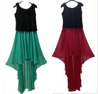 2015 Fashion women Bohemian long contrast color dress,plus size Irregular vest dress,14 color good quality sexy party dress