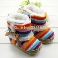 Retail Winter  Rainbow Baby Snow Boots Fashion Newborn Warm crochet girls/boys boots knit toddler prewalker