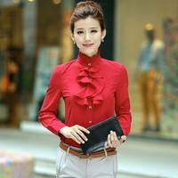 Autumn Slim court flounced chiffon shirt collar fashion women wear long-sleeved shirts