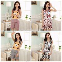 Ms. summer pajamas variety of cute cartoon round neck vest suit vest shorts pajamas female family