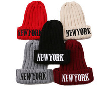 2014 winter embroidered wool cap NEW YORK letters warm hat women knitting hats