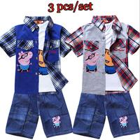 Retail 2014 Peppa Pig Clothing Set boys girls summer cartoon clothes children's 3 pcs set Vest+Shirt+Denim shorts casual wear