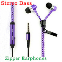 Newest Metal Zipper Earphones Stereo Bass Earphone In Ear Headset Headphones With MIC 3.5mm Jack Standard Free Shipping