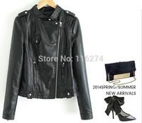 New Arrival Black Ladies Casual Turn Down Leather Jacket Coats Women Winter Jackets Coat MYK068