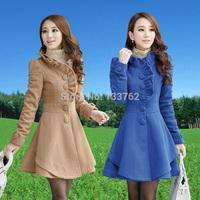 Winter women's 2014 slim medium-long ruffle collar wool coat outerwear