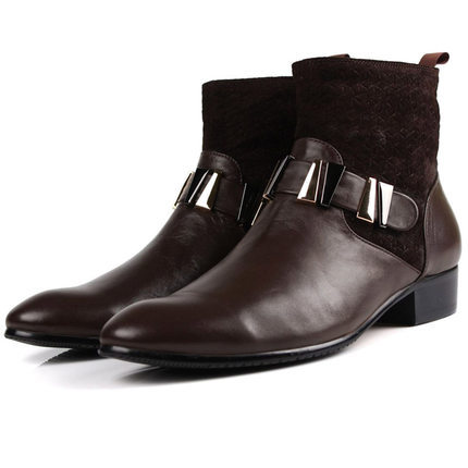 2014 Autumn/winter New Style Men's Leather Boots Carved Cutout Short