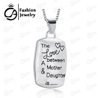 2014 Fashion Love Between Mother and Daughter Silver Chain Pendant Necklace Girls Gift Box Chain Statement Necklace Jewelry