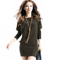 Sexy Evening Party Dress Women Casual Summer Dresses Shinning Dress Colors Batwing Sleeves UK Fashion 2014 NZH041