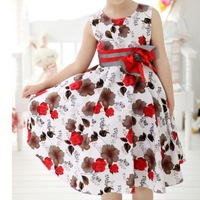 Free Shipping New 2014 Baby Girls Trendy Flower Christmas Dress Girl Summer Birthday Party Princess Dress Girl's Cotton Dress