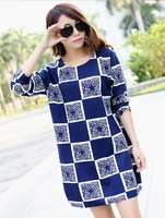 Real Photo!2015 European and American style block color plaid dresses women vintage dress long sleeve autumn/winter cotton dress