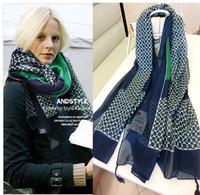 30% discount  hot sale   2014 woman's  brand   blue scarf  tassel chiffon scarf sun silk scarf spring and summer cape female