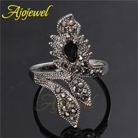 Size 7-9 Fashion Women Accessories 2014 New Fashion Retro White Gold Plated Black Zircon Ring