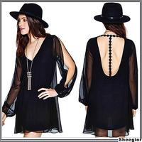 Fashion Women summer Dress 2014 Sexy Deep V-neck Chiffon Backless Evening Short Mini dress for ladies girls