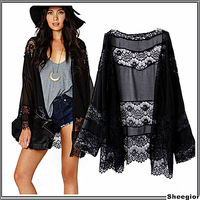European and American Winter Autumn Sexy Lace Jackets elegant black chiffon long sleeved Kimono stitching shawl jacket