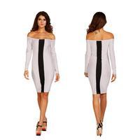 2014 sexy women off the shoulder patchwork white black slash neck bodycom knee length dress elegant office lady vestidos