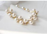 SC520 Hot Sale Jewelry Women Gift  Brand Vintage Indian Pearl Rhinestone Charm Bracelets Bangles Women