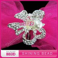 cheap diamond  pearl napkin ring for weddings