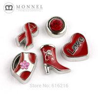 FC09-B New Arrival Red Handbag Boot Heart Ribbon Stone Floating Charm for Glass Locket