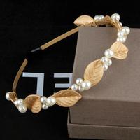 Retro fashion catwalk leaves pearl hair hoop headband hair accessories jewelry hairpin female headdress