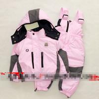 warm winter thicken kids / boys / girls / toddler snowsuit brand duck down jacket hooded bib pants